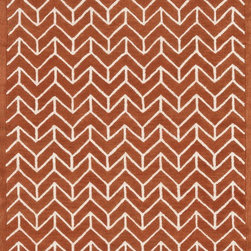 "Loloi Rugs - Loloi Rugs Brighton Collection - Tangerine, 9'-3"" x 13' - There are geometric rugs and then there is the striking Brighton Collection, which sets a new standard for geometric style. Hand-tufted in India, 100% wool yarns are hand-dipped into rich dye lots, producing lively colors that pair fabulously with its playful patterns. Brighton also combines a cut and loop pile, creating a mix of heights and textures for added visual interest. Available in 12 playful designs."