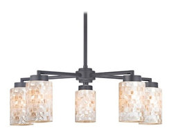 Design Classics Lighting - Black Chandelier with Mosaic Glass Cylinder Shades - 590-07 GL1026C - Country / cottage matte black 5-light chandelier with cylinder glass shades. Includes one 6-inch and three 12-inch down rods that allow this chandelier to hang at a minimum height of 17-3/4-inches up to a maximum of 53-1/8-inches. Takes (5) 100-watt incandescent A19 bulb(s). Bulb(s) sold separately. UL listed. Dry location rated.