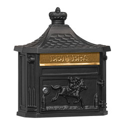 Salsbury Industries - Victorian Mailbox - Surface Mounted - Black - Made of die cast aluminum, Salsbury surface mounted Victorian mailboxes are available in four (4) contemporary colors and include a 10-3/4'' W x 2-1/4'' H mail flap with the word LETTERS  cast into it.  The brass mail flap features an adjustable stop that can limit the size of the mail flap opening.  Surface mounted Victorian mailboxes include a front access 10-3/4'' W x 6'' H door and a lock with two (2) keys.  A gold finish non-locking thumb latch (#4488) is available as an option upon request.  Surface mounted Victorian mailboxes may be used for U.S.P.S. residential door mail delivery.  Salsbury Industries is an ISO 9001: 2008 certified company and has excelled in the field  of manufacturing since 1936.