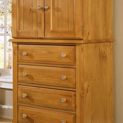 Vaughan Bassett - 4-Drawer Vanity Chest in Pine Finish - 4 Drawers. 2 Doors. 1 Adjustable shelf. Pine finish. Assembly required. 32 in. W x 23 in. D x 60 in. H. TV opening: 28 in. W x 20 in. H