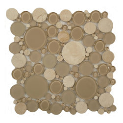 "Euro Glass - Bubble Sable Brown  Circles Cream/Beige Lagoon Series Glossy & Frosted Glass and - Sheet size:  12"" x 12""     Tile Size:  Circles     Tiles per sheet:  120     Tile thickness:  1/4""      Grout Joints:  1/8""     Sheet Mount:  Mesh Backed     MATCHING 4"" X 12"" BORDER AVAILABLE   Sold by the sheet      -"