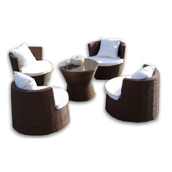 Art-Deck-oh™ - Geo Vase Weatherproof Wicker Furniture Set - It's hard to pinpoint exactly the style of the Art_Deck-Oh™ Geo Vase outdoor 5 piece furniture set. Traditional? Yes. Rustic, well almost, but this elegant set of furniture is equally at home sitting on the deck of a beach house or on the verandah of a contemporary city apartment.