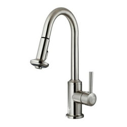 Vigo VG02012ST Single Handle Pull Down Kitchen Faucet - The Vigo VG02012ST Single Handle Pull Down Kitchen Faucet has a high curved design that stays up and out-of-the-way of your sink letting you fill large pots or clean a sinkful of dishes. Made from solid brass this handsome unit boasts a sleek modern design and a corrosion-resistant stainless-steel finish that won't tarnish. The spray nozzle features an easy-clean face the prevents mineral build up and has a dual-function design with spray or flow options. The spout offers a full 360-degree swivel and features a 30-inch extension for expandable reach. The faucet has an average output of 2.2GPM and is rated with an industry-standard pressure. All necessary mounting hardware is included. The unit is tested and certified ADA compliant. Product Specifications: ADA Compliant: Yes Low Lead Compliant: Yes Flow Rate: 2.2 GPM Handle Style: Lever Mount: Deck mount Valve Type: Ceramic Disc Swivel: 360 degrees Filter: No Spout Height: 8.38 inches Spout Reach: 8.65 inches About Vigo Industries LLCFounded just over a decade ago in Rahway N.J. Vigo Industries has established a reputation for offering attractive affordable innovative and durable kitchen and bath products. From faucets and sinks to shower enclosures and bathroom vanities Vigo's products are designed with state-of-the-art engineering that combines efficiency and elegance. Vigo's engineering and design teams always look ahead to fulfill the ever-evolving needs and tastes of consumers bringing them the latest styles and trends without compromising quality.