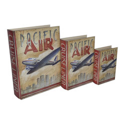 Cheung's - Home Set Of 3 Book Box With Vintage Pacific Air Theme Printed On Vinyl - Nested for Space Saving. Felt Lining.