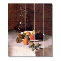 Picture-Tiles, LLC - A Carafe Of Wine And Plate Of Fruit On A White Tablecloth Tile M By He - * MURAL SIZE: 48x40 inch tile mural using (30) 8x8 ceramic tiles-satin finish.