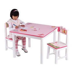 Guidecraft Butterfly Buddies Table and Chairs Set - Create a fun place for your children to work on projects and play with friends with the Guidecraft Butterfly Buddies Table and Chairs Set. The hand-painted butterfly and flower motif pops against the pink and white color palette. Double-bolt construction on the table adds stability, and the angled chair legs prevent tipping. About GuidecraftGuidecraft was founded in 1964 in a small woodshop, producing 10 items. Today, Guidecraft's line includes over 160 educational toys and furnishings. The company's size has changed, but their mission remains the same; stay true to the tradition of smart, beautifully crafted wood products, which allow children's minds and imaginations room to truly wonder and grow. Guidecraft plans to continue far into the future with what they do best, while always giving their loyal customers what they have come to expect: expert quality, excellent service, and an ever-growing collection of creativity-inspiring products for children.