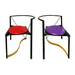 Purple & Red Memphis Chairs - A Pair -