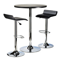 """Winsomewood - Spectrum 3pc Pub Table Set, 24"""" Round Black Table with Chrome, 2 Airlift Stool - This 24"""" pub table is great addition to your game or dorm room. Modern pub set, compact size. Round MDF top table matches with same metal leg airlift stools. Box 1 - table"""