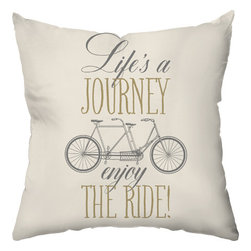 Checkerboard Ltd - Tandem Ride Decorative Throw Pillow - 18 inch by 18 inch - Life's journey on a bicycle built for two. Back in coordinating  pattern.  Our softly textured fabric is long-lasting, wrinkle-resistant and feels as great as it looks.