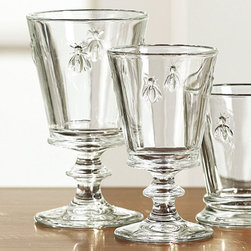 Ballard Designs - Bee Glassware - Set of 4 - These glasses are so nice to drink from. They have a great weight, and they feel good in your hand. (Here's a little tip: they can be found for a quarter of the price at the Christmas Tree Shops if you have one in your area.)