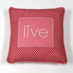 Simplicity Hot Pink - Decorative Pillow - Laugh - LIVE, LAUGH and LOVE with One Grace Place decorative throw pillows offered in all Simplicity Collections!  Made to accent any and all rooms. Pillows are designed with One Grace Place signature cotton fabrics and trimmed with welting in solid coordinating fabric.  Pillows match with all canvas art sets in these collections.  What a fun addition to any room!