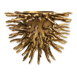Accent Decor - Brass Roots Vase, Large - The Brass Roots Vase is a glamorous centerpiece.  Used as a vase or planter, or simply as a standalone tabletop sculpture, the Brass Roots Vase steals the show.  The vase is constructed of a golden brassy metal with spiny root-like details.  Choose from a large size for bigger pots or arrangements, or the small size for a petit statement maker.  Or group both sizes together to make twice the impact.  We love the Brass Roots Vase paired with a phalaenopsis orchid.  Add instant warmth and wonder to your modern or transitional space with the Brass Roots Vase.