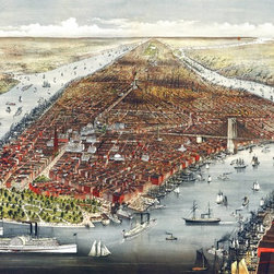 New York City  Birds-eye View - 1876 Wall Map Mural - Peel and Stick - A bird's-eye view of New York city provides a look into the early days of  America's largest city. This magnificent panorama of Manhattan was sketched &  drawn on stone by Parsons & Atwater and was published in 1876 by Currier & Ives.  The panoramic map captures the city looking west with beautifully detailed  illustrations of the Hudson and East River, Battery Park, the Brooklyn Bridge,  buildings, streets, and boat traffic.