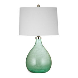 Bassett Mirror - Bassett Mirror Pierson Table Lamp - Create a soft, ocean-inspired look with the Pierson Table Lamp. Featuring a lightly textured white drum shade, chrome hardware and green seeded glass base, this lamp offers a bright pop of color without being overpowering. Pair it with transitional decor for a clean, cohesive feel. Requires 60 watts or less, bulbs not included.