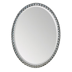 Ren-Wil - Ren-Wil MT891 Portrait Mirror in All Glass - This beveled oval mirror features a silver plated frame covered in round crystals giving it a simple elegant look.