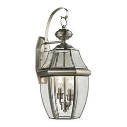 Elk Cornerstone - Two Light Clear Beveled Glass Antique Nickel Wall Lantern - Two Light Clear Beveled Glass Antique Nickel Wall Lantern