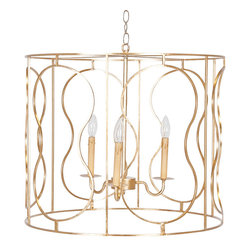 """Worlds Away - Worlds Away Iron Pendant-Available in Two Different Finishes, Gold - This lovely pendant is made with iron and comes in a gold leaf or silver leaf finish. The chandelier takes three 40 watt max chandelier based bulbs. It measures 24"""" in diameter X 20""""H and comes with 3 feet of antique brass chain and a ceiling canopy."""