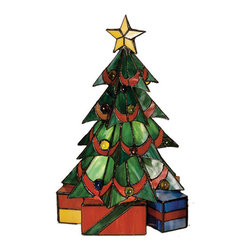 """Meyda Tiffany - 16""""H Christmas Tree Accent Lamp - This festive holiday Christmas Tree accent lamp, crafted of Holiday Red and Pine Green stained art glass with Yellow, Blue and colorful jewel accents will put you in the spirit of the season."""