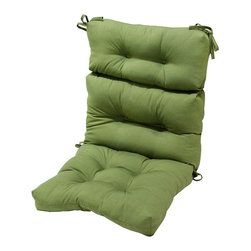 None - 44x22-inch 3-section Outdoor Summerside Green High Back Chair Cushion - Color: Green Materials: 100-percent polyester Chair is NOT included