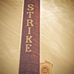 Downtown Durham Vintage Cityscape- Durham, Fine Art Photography Print, 10X15 - Photo was taken in October 2011 of the American Tobacco Campus in Downtown Durham, North Carolina. This photo has a vintage feel and shows of the great brick detail in the Lucky Strike smokestack with the Lucky Strike tower in the background.  These landmarks are part of the  former Lucky strike cigarette factory. This area has been rebuilt and is now home to live entertainment, restaurants, shops and offices. A great place to visit when you are in Durham.