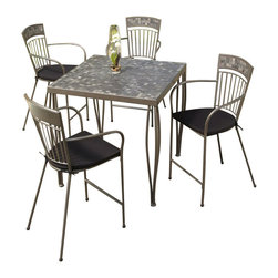 Home Styles - Home Styles Glen Rock 5 Piece Outdoor Bistro Set in Gray - Home Styles - Patio Bistro Sets - 5607369 - A swirling dark palette of blacks & grays create a contemporary look resembling the city skyline. Perfect for any setting...versatile enough for indoor use but built to sustain outdoor elements. Glen Rock Marble 5 Piece Bistro Set by Home Styles is constructed of powder-coated steel frame in a gray finish with hand-crafted tumbled marble square tiles in a natural occurring gray variation; No two tables alike! The table base is constructed of powder-coated steel in a gray finish that features a dual-leg curved frame. Stools feature dim gray two-tie weather resistant woven polyester cushions. Both table and chairs have adjustable nylon glides to prevent damage to surfaces caused by movement and provide stability on uneven surfaces.