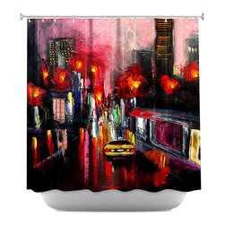 DiaNoche Designs - Shower Curtain Artistic - Faces of the City 145 - DiaNoche Designs works with artists from around the world to bring unique, artistic products to decorate all aspects of your home.  Our designer Shower Curtains will be the talk of every guest to visit your bathroom!  Our Shower Curtains have Sewn reinforced holes for curtain rings, Shower Curtain Rings Not Included.  Dye Sublimation printing adheres the ink to the material for long life and durability. Machine Wash upon arrival for maximum softness. Made in USA.  Shower Curtain Rings Not Included.