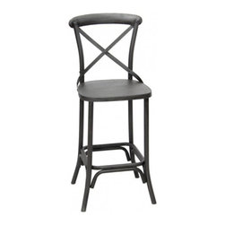 Industrial Bar Stool- Raw Metal - CDI. 18w x 23d x 46h. Available for order at Warehouse 74.