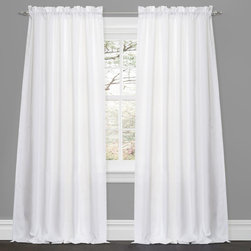 Lush Decor - Lush Decor Lucia White 84-inch Curtain Panel Pair - Create a clean,crisp look for any window with this lovely polyester curtain panel pair. These curtains feature vertically flowing ruffles in stark white for an elegant and immaculate visual that is sure to perk up the decor in your home.