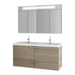 ACF - 47 Inch Larch Canapa Bathroom Vanity Set - A sensible piece for a designer or contemporary bath, this wall mounted bath vanity is the perfect option.