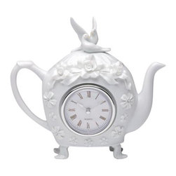 ATD - 7.38 Inch Rose Flower with Dove Top Design Teapot with Clock Center - This gorgeous 7.38 Inch Rose Flower with Dove Top Design Teapot with Clock Center has the finest details and highest quality you will find anywhere! 7.38 Inch Rose Flower with Dove Top Design Teapot with Clock Center is truly remarkable.