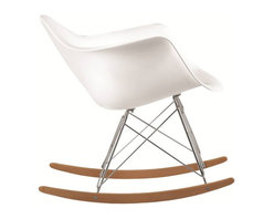 Lemoderno - Molded White Plastic Armchair Rocker, White - A fabulous rocker, The Rocker Arm Chair is a classic mid-centry piece made the classic way with ABS, stainless steel legs, and in Ash wood This item is a high quality reproduction of the original.