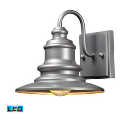 Elk Lighting - Marina LED 1-Light Outdoor Sconce in Matte Silver - The Marina Collection features a charming nautical appeal that will illuminate your outdoor space with distinctive style. Finished in hazelnut bronze or matte silver. - LED offering up to 800 lumens (60 watt equivalent) with full range dimming. Includes an easily replaceable LED bulb (120V).