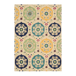 Nourison - Nourison Suzani Suz01 Ivory Area Rug - Give any room a touch of nature with a Nourison Suzani rug. This rug is a contemporary take on the traditional floral patterns. The patterns range from whimsical to distinctive plants and flowers. For example, you can pair this rug with a large planter to create an intriguing wilderness. You can even add the rug to a room with a Queen Anne chair to add a visual appeal into a space. Each of the Suzani area rugs are made with 100 percent hand tufted wool.