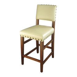 Four Hands - Blake Counterstool, Ivory - Tapered legs lend lightness and grace to this classic counter stool. Upholstered in leather with nailhead trim, its classic styling and rich, earthy finish make it a natural choice for the kitchen, family room or bar.