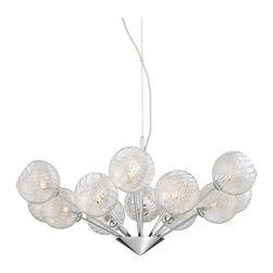 "Possini Euro Design - Possini Euro Wired 29"" Wide Glass Orb Chandelier - This stunning chandelier features a chrome finish centerpiece upon which twelve arms are mounted. Attached to each arm is a mouth-blown glass cup with a distinctive aluminum paper clip wire decoration inside of each. The light hangs from a wire and cable attached to a round chrome finish canopy. A breathtaking contemporary look from Possini Euro Design. Chrome accents. Clear glass orbs. Paper clip wire. Includes twelve 40 watt G9 halogen bulbs. 29"" wide. 13 1/2"" high. Includes 10 feet cable and wire. Canopy is 5"" wide. Hang weight is 11.5 lbs.  Chrome finish accents.  Clear glass orbs.  Paper clip wire.  Includes twelve 40 watt G9 halogen bulbs.  29"" wide.  13 1/2"" high.  Includes 10 feet cable and wire.  Canopy is 5"" wide.  Hang weight is 11.5 lbs."