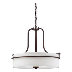 """Nuvo - Three Light - Pendant - Venetian Bronze Finish with White Linen Shade - Shade: White Linen Shade.  Bulb Info: 3 x 60W Medium Base A19 Incandescent (Bulb Not Included).  Style: Contemporary.  UL Certified: Dry Location.  Chain: 48"""". . Color/Finish: Venetian Bronze. 22 in. W x 19.75 in. H (14.84 lbs)The Loren collection finished in venetian bronze or polished nickel and accented by etched opal glass or white linen shades, features unique chandeliers, pendants and vanities.  The venetian bronze finish adds a bold country look to kitchens, dining, living areas and baths where the polished nickel finish which is decidedly contemporary, has an upscale look which adds to an already elegant design.  The Loren collection finds itself at home anywhere a distinctive design touch and soft task or ambient lighting is needed."""