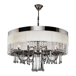 PLC Lighting - Elisa Modern Black Chrome White Linen & Crystal Chandelier - The Elisa Modern Chandelier by PLC Lighting exudes elegance and sophistication. This chandelier offers a stunning overall appearance that will serve as a wonderful centerpiece in any home. The expertly finished metal in black chrome is contrasted by the round,  off-white linen shade. The fixtures crystal prims and glass work complete the contemporary look. This fixture accommodates eight (8) 60 watt bulbs with an E12 candelabra base.