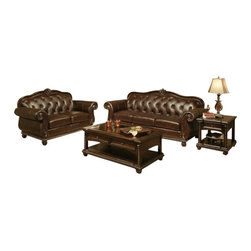 "Acme - 2-Piece Anondale Collection Top Grain Leather Upholstered Sofa and Love Seat Set - 2-Piece Anondale collection cherry finish top grain leather upholstered sofa and love seat with wood trim accents. This set includes the sofa and love seat with a cherry finish top grain leather upholstery with decorative carving accents and a nail head trim detail and button tufted backs. Sofa measures 94"" x 37"" x 42"" H. Love seat measures 66"" x 37"" x 42"" H. Optional chair and ottoman also available separately and chair measures 47"" x 37"" x 42"" H, ottoman measures 26"" x 20"" x 19"" H. Some assemble may be required (attachment of feet)."