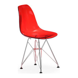 Zuo Modern - Baby Spire Chair Transparent Red - Based on Zuo's popular Spire, the Baby Spire chair fits in every child's room in need of modern, classic style. With a light-weight seat made from ABS and chrome steel base, the Baby Spire serves the function and design.