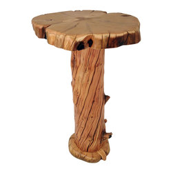 "Crafted Woods - Ancient Bristlecone ""Twisted"" Bar Table - Nicknamed ""Twisted"" because of the unique natural twist in the base. This natural twist occurs because of the harsh growing conditions this wood experienced."
