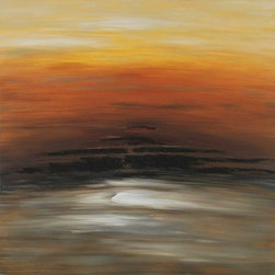 Paragon Decor - Orange Sky Artwork - Orange and taupes merge in a perfect configuration.  Features gallery style wrap.