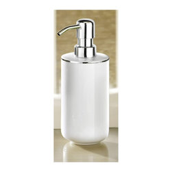 Luxury White Porcelain Soap Dispenser with Silver Accent - 13.5oz - Elegant snow white porcelain bathroom soap dispenser with beautiful silver accent.  Gorgeous and practical.  Chrome finish durable pump.   Designed and produced in Germany. Dispenser (W) 2.6in x (H) 8.6in - Holds 13.5oz of soap or lotion.