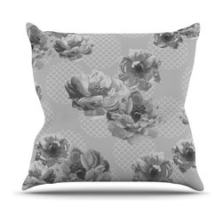 """Kess InHouse - Pellerina Design """"Lace Peony in Gray"""" Grey Floral Throw Pillow (18"""" x 18"""") - Rest among the art you love. Transform your hang out room into a hip gallery, that's also comfortable. With this pillow you can create an environment that reflects your unique style. It's amazing what a throw pillow can do to complete a room. (Kess InHouse is not responsible for pillow fighting that may occur as the result of creative stimulation)."""