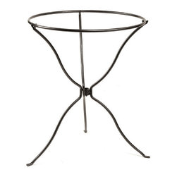 "Achla - Tripod Ring Stand - This tripod stand easily folds up for storage and portability, yet can easily be set up to hold a bird bath with a twenty four inch diameter.  Its thirty inch height brings it off the ground at an attractive level which allows the bird bath to be properly appreciated. * This tripod stand easily folds up for storage and portability, yet can easily be set up to hold a bird bath with a twenty four inch diameter. Its thirty inch height brings it off the ground at an attractive level which allows the bird bath to be properly appreciated. Graphite Powdercoat finish23"" dia. ring x 29""H"