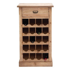 """Benzara - The Cool Wood Metal Wine Rack - Do you love wines? Are you an expert in the field, or are you still learning? Well, whatever your status and position you will need a wine-rack if you love wine. And this wood metal wine rack will be the perfect space saving option. With room to store 20 bottles of wine and with an additional drawer at the top, this wine rack is a gem that all will find useful. The simple and unadorned design is its USP.All who see it will take an instant liking to it. Also, it has been made using quality materials; this ensures that it will last with you for years to come. Perfect also as a gifting item; you may gift it to your father or someone from the older generation who can appreciate its usefulness. So don't wait around. Consider getting this wood metal wine rack: it is a must have. Wood metal wine rack dimensions: 22 inches (W) x 14 inches (D) x 39 inches (H); Wine rack color: Light brown; Made from: Wood, metal; Dimensions: 49""""L x 18""""W x 19""""H"""