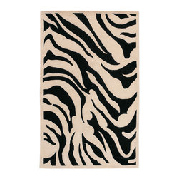 Surya - Hand-tufted Contemporary Black/White Zebra Oliba New Zealand Wool Rug (12' x 15' - This modern rug is hand-tufted in India from 100-percent New Zealand wool and features a luxurious pile. The contemporary animal pattern,will bring style and interest to any room.