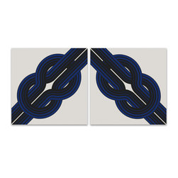 "Graphilia - 1970s Framed Vintage Fabric Wall Hanging ""Knot"" Set in Blue - ""Knot"" by Reis & Manwaring is an original graphic print from 1973 hand silkscreened on 100% cotton canvas."