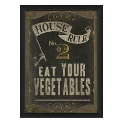 The Artwork Factory - House Rule No 2 Framed Artwork - Everyone needs a gentle nutrition reminder now and again, and with this formal invitation to vegetable consumption on your wall, your family will be inspired to eat up those greens! Elegantly framed in black wood, this lovely print would look smart in your kitchen or dining room.