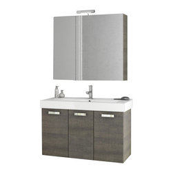 ACF - 40 Inch Grey Oak Bathroom Vanity Set - Add this designer, contemporary bath vanity to your already contemporary personal bathroom.
