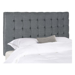 "Safavieh - Lamar Queen Headboard - Grey - The luxurious Lamar Headboard lends new meaning to the term ""beauty sleep"". Exquisitely biscuit tufted in grey poly suede, this queen size headboard commands center stage in traditional and transitional bedrooms."